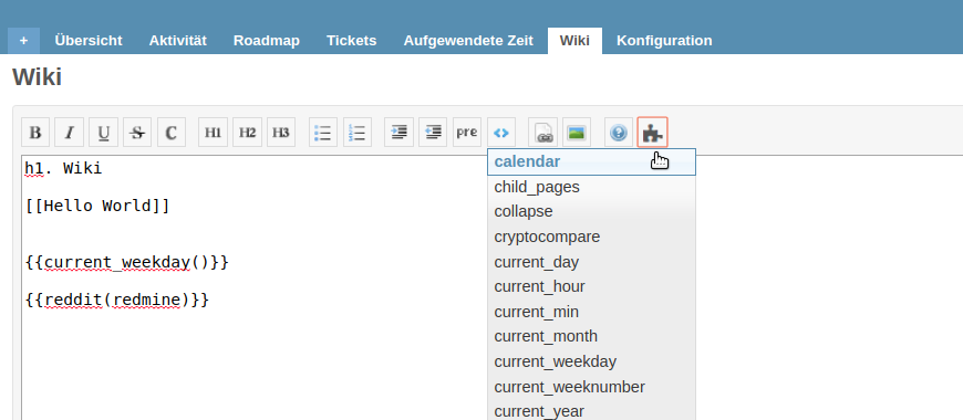 Makro Button für Redmine