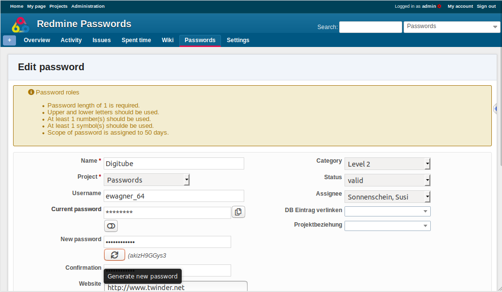 Redmine Passwords Plugin
